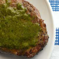 Grilled Steak with Lemon Cilantro Garlic Butter